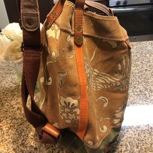 Lucky suede, leather and upholstery back pack